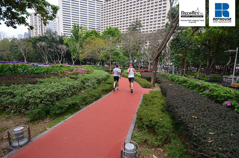 the Victoria Park at Hong Kong is retrofitted with a rubber floor