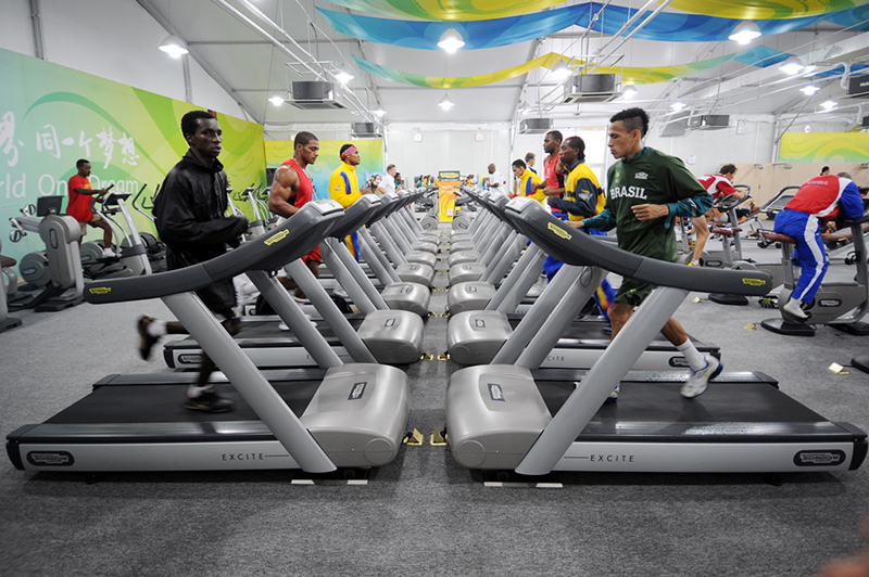 olympic athletes training with technogym