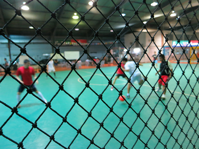 A regulation futsal match.