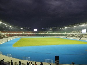 The Philippine Sports Stadium minutes before a football match.