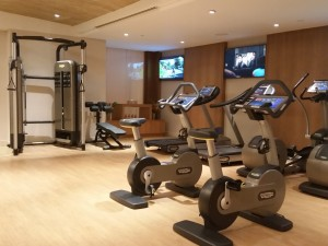 An array of top-of-the-line gym equipment at Solaire Resort and Casino.