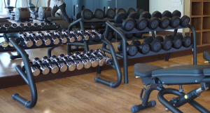 Technogym's Free Weights, ready for employees to use.