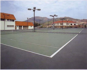 rubber floor tennis court